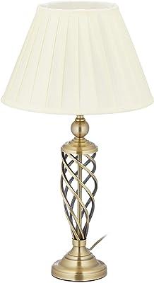 Relaxdays 10034453 Lampe de Table Antique, Abat Jour, Socle en métal décor, E 27, de Chevet, HxD 58 x 32 x 43,5 cm, Laiton/Blanc