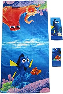 S.L. Home Fashions 3 Pieces Disney Pixar 100% Cotton Bath, Hand, and Fingertip Towel Sets (Finding Dory)