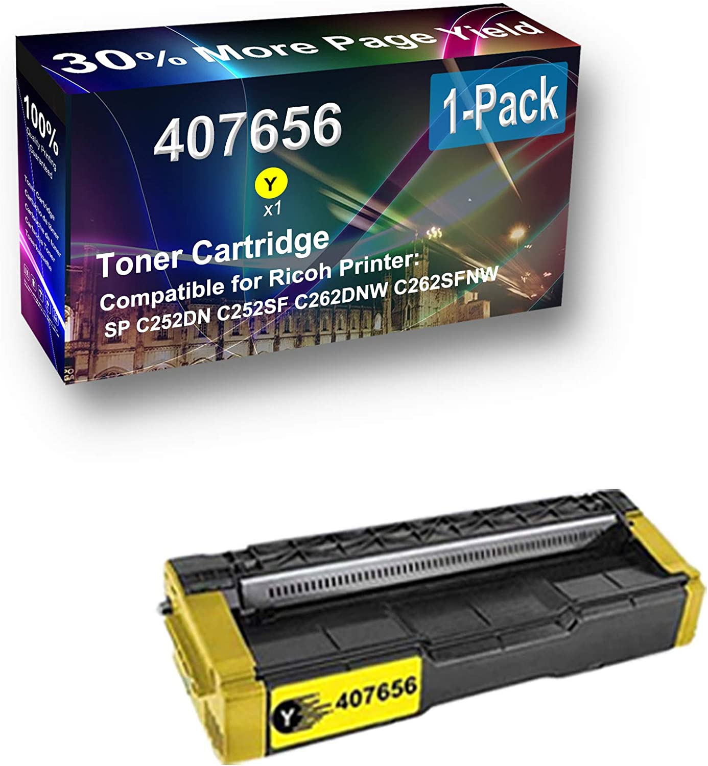 1-Pack (Yellow) Compatible High Capacity 407656 Toner Cartridge Used for Ricoh SP C252DN C252SF C262DNW C262SFNW Printer