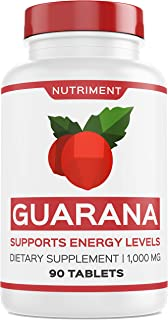 Nutriment Guarana 1000mg Supports Energy Levels and Motivation - Natural Caffeine Alternative Focus Booster Supplement 90 Tablets