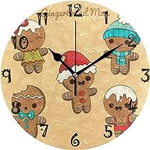 LDIY Art Christmas Gingerbread Round Wall Clock Circular Plate Silent Non Ticking Clocks for Kitchen Home Office School Decor Kid Boys Girls