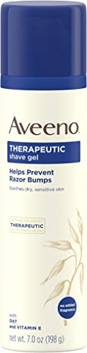 Aveeno Therapeutic Shave Gel with Oat and Vitamin E to Help Prevent Razor Bumps and Soothe Dry and Sensitive Skin, No...