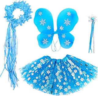Enchantly Frozen Inspired Girls - Fairy Costume Dress Up Play - Wings, Wand, Halo and Tutu Skirt Fits Age 3 to 7