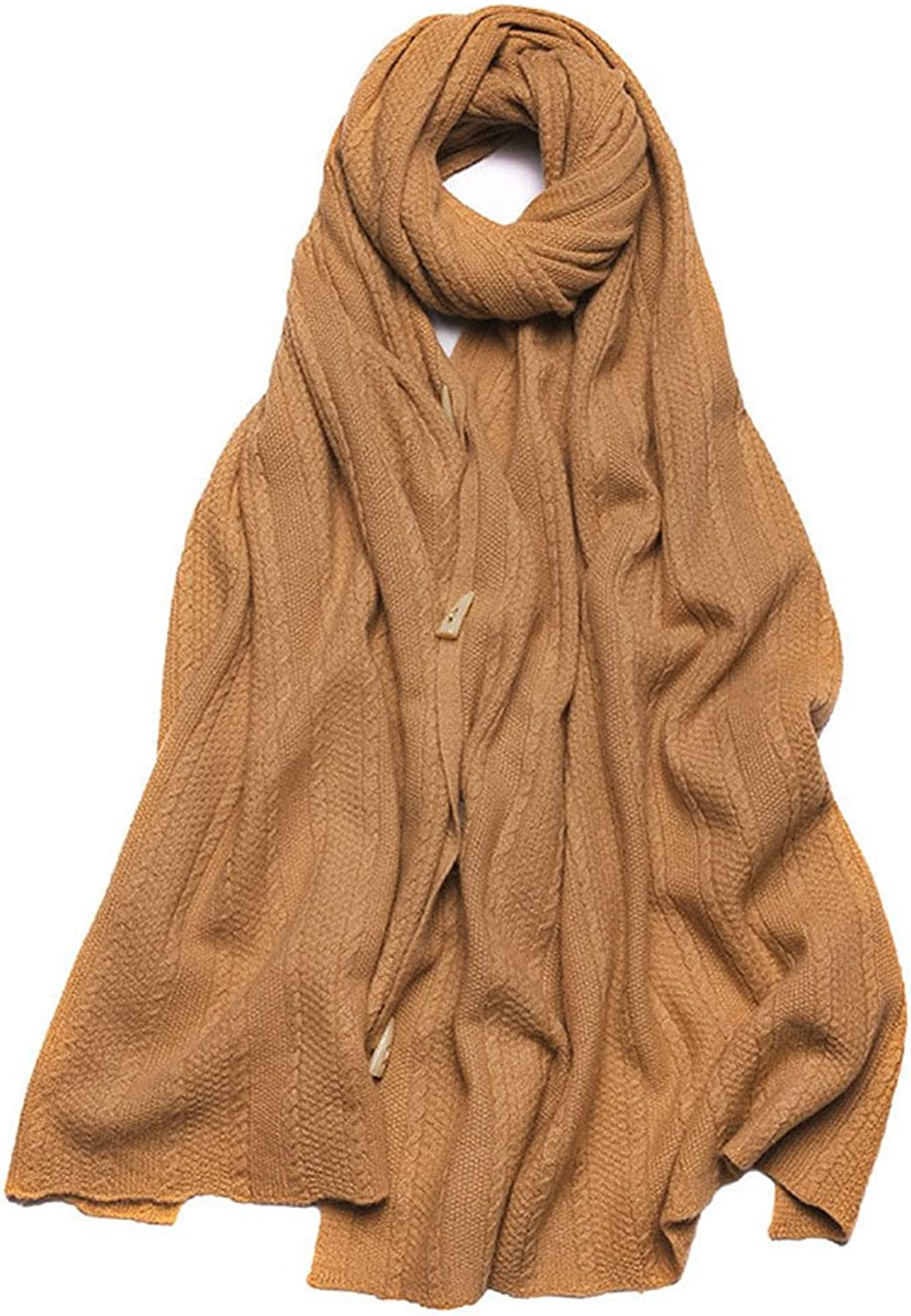 Buckle Cashmere Scarf Shawl Scarves Knitted Warm Coat Ms.,Camelyellow