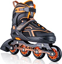 2PM SPORTS Torinx Orange/Red/Green Black Boys Adjustable Inline Skates, Fun Roller Blades for Kids, Beginner Roller Skates...