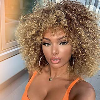 (Blonde and Brown) - MISSWIG Synthetic Curly Wigs Heat Resistant Fibre Kinky Curly Wigs for Black Women Short Afro Wigs wi...