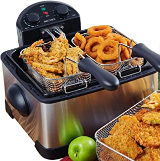 Secura 1700-Watt Stainless-Steel Triple Basket Electric Deep Fryer with Timer Free Extra..