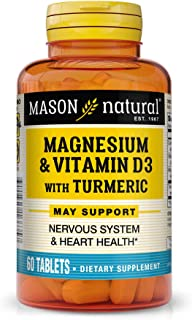 Mason Natural, Magnesium and Vitamin D3 with Turmeric Tablets, 60 Count, Herbal Dietary Supplement with Vitamins, Supports...