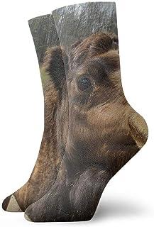 tyui7, Calcetines de compresión antideslizantes con cara de camello lindos Calcetines deportivos de 30 cm acogedores para hombres, mujeres, niños