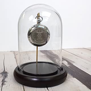 """Decorative Dome 7"""" x 4.5"""" Clear Glass Display Cloche Espresso Base for Figurines, Pocket Watch, Metals, Ornaments"""