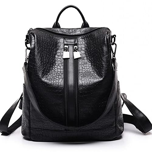 Unisex Classic Fashion Leather Backpack Shoulder Bag For Men and Women Crocodile Pattern Black