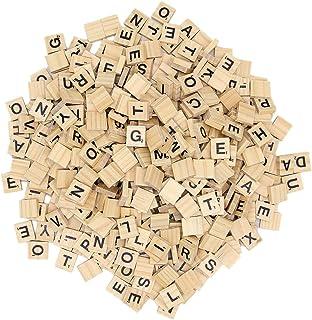 Zcaukya 300 Pcs Wooden Scrabble Tiles,Wood Letter Tiles,Scrabble Tiles for Crafts A-Z Capital Letters for Crafts, Pendants...