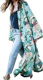 Women's Bohemia Floral Lapel Long Kimono Oversized Shawl Cardigan Tops