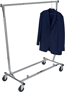 Econoco Collapsible Rolling Clothes Rack - Collapsible Clothing Rack, Commercial Grade Clothing Display, Square Tubing Rolling Rack, Chrome
