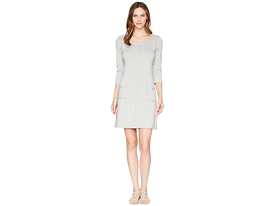Tribal French Terry Dress with Pockets and Stud Detail (Grey Mix) Women