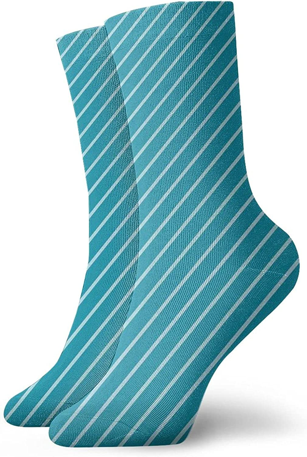 Compression High Socks-Diagonal Striped Pattern Mediterranean Cruise Colors Ocean Travel Adventure Best for Running,Athletic,Hiking,Travel,Flight