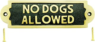 Renovators Supply Manufacturing Solid Brass No Dogs Allowed Warning Sign Plate Plaques Polished Brass Plate