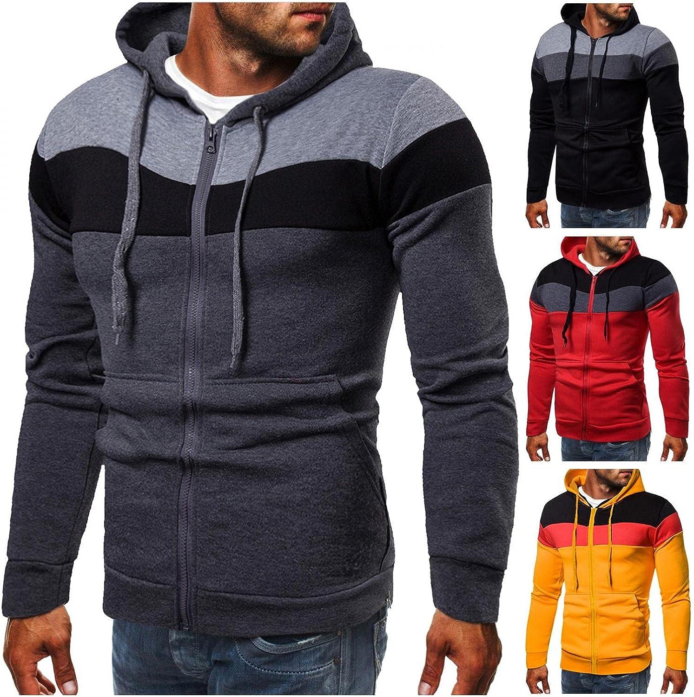 Men's Hoodies Zip Up Lightweight Men Autumn Winter Casual Long Sleeve Slim Colorblock Sports Pocket Hooded Sweatshirts