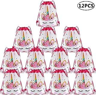 NALCY 12 Piezas Unicornio Bolsa Regalo Bolsa de Cuerdas, Unicornio Bolsas de Fiesta Unicornio Bolsa Dulces para Infantil Niñas Fiesta Cumpleaños Party