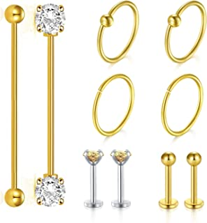 JFORYOU Industrial Barbell Cartilage Earrings Set 14G Surgical Steel Industrial Piercing Shinny CZ Stone 16G Helix Earring Piercing Jewelry