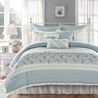 OSD 9pc Periwinkle Blue Green Paisley Comforter Queen Set, Blue White Shabby Chic Adult Bedding Master Bedroom Stylish Pintuck Ruffled Pattern Ruched Elegant Traditional Cotton Polyester