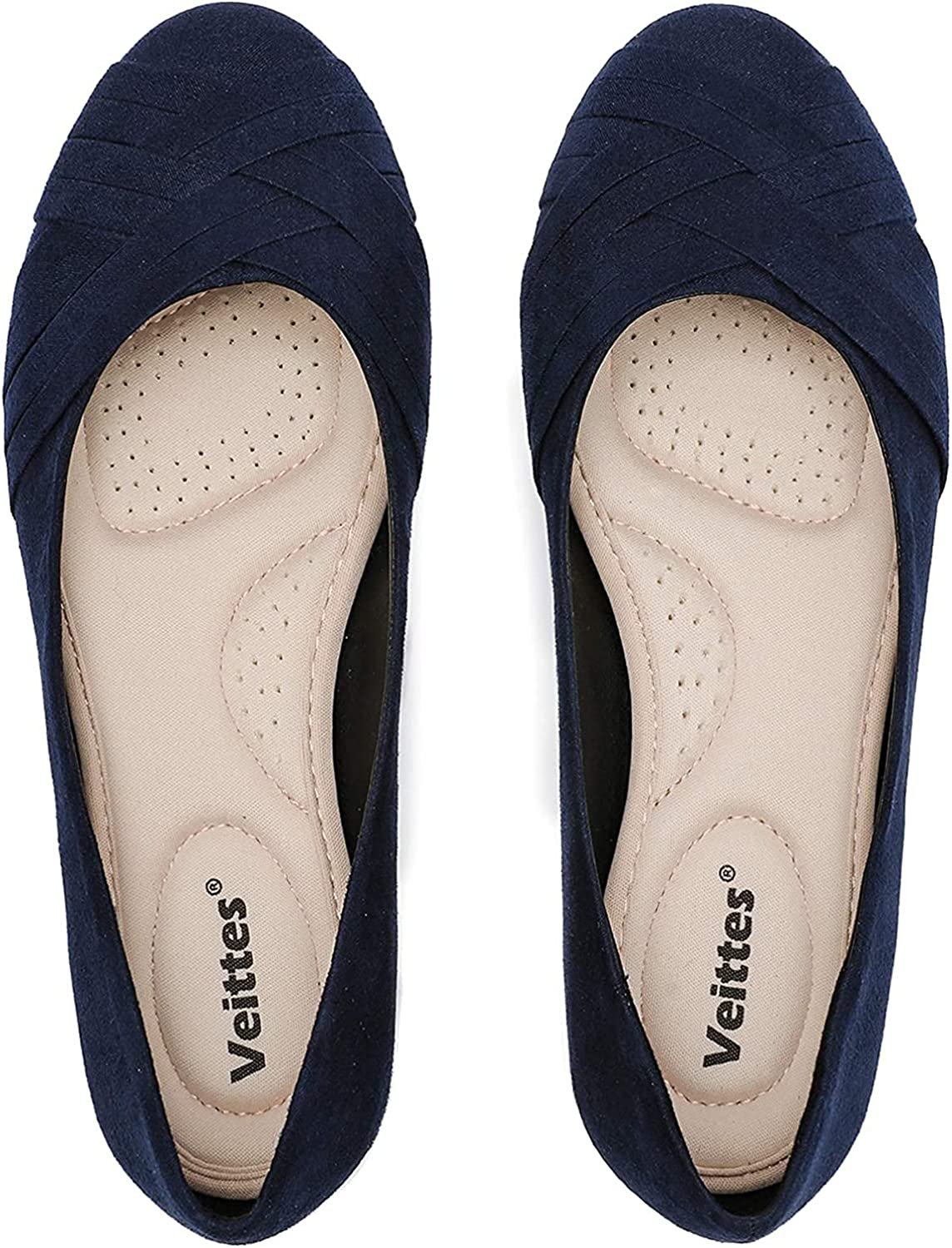 Veittes Women's Flat New product!! Shoes Round Ballet Classic Suede Toe Flats Max 60% OFF