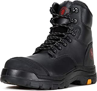 Work Boots for Men, Steel Toe, 8 inch Safety Oiled Leather Shoes, Slip Resistant Industrial Boot, Static Dissipative, Breathable, Quick Dry, Anti-Fatigue, AK245 AK232