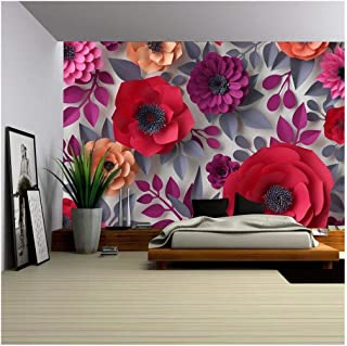 wall26 - Red Pink Flowers Bridal Bouquet - 3D Canvas Art Wall Decor - 100