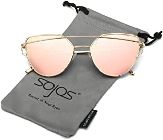 SOJOS Cat Eye Mirrored Flat Lenses Street Fashion Metal...