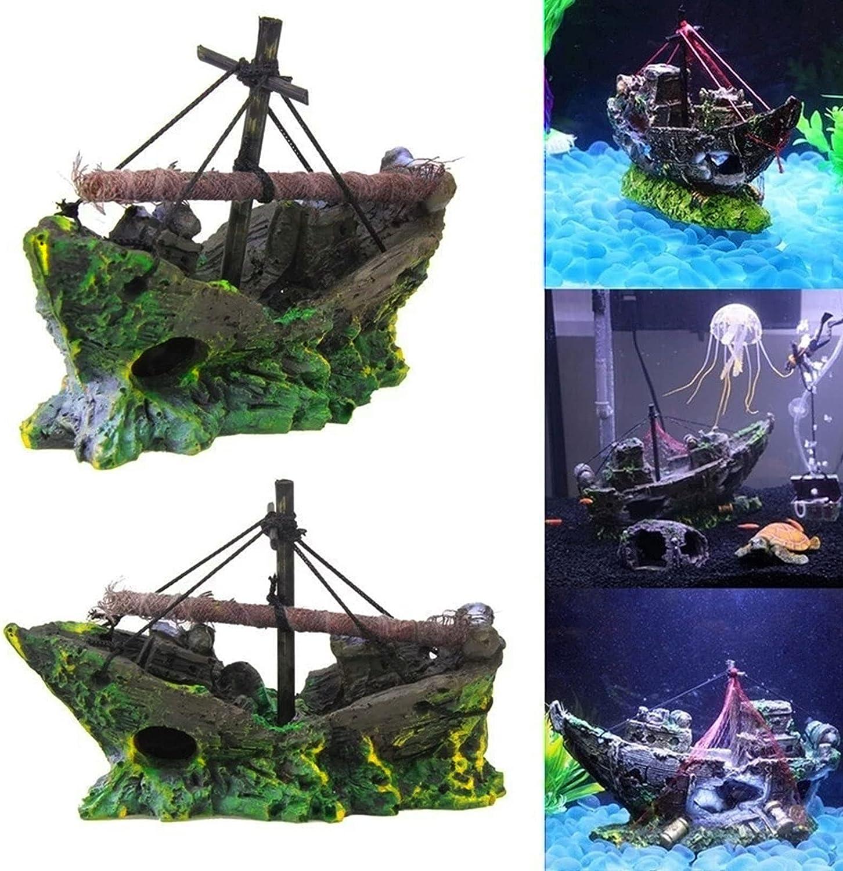 Naufragio Decoración Adorno de Acuario Decoración del Barco de Pesca del Acuario Barco de Pesca de Resina de Adornos de Acuario Adornos de Decoración de Acuarios Decoraciones del Tanque de Pescados