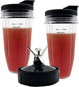 Blender 24 oz Cups with Lids & 7 Fins Extractor Blade Replacement Parts Compatible with Nutri Ninja Auto iQ BL450-30 BL455-30 BL456-30 BL480-30 BL482-30 BL494 bl640 BL680 BL682 BN801 CT680W CT682SP