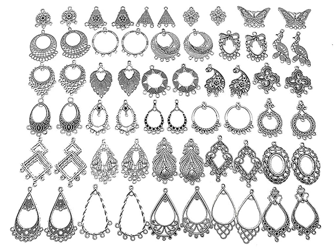 Kinteshun Filigree Chandelier Earring Loops Connectors Eardrop Necklace Linker Dangling Charm Pendant Connector for DIY Jewelry Making Accessaries(30pairs,Antique Silver Tone)