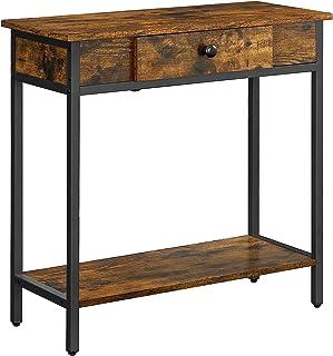 VASAGLE Table Console, Table d'entrée à 2 Niveaux, avec tiroir et étagère en Panneaux d'aggloméré, 70 x 30 x 70 cm, Cadre ...