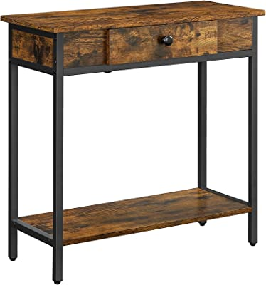 VASAGLE Table Console, Table d'entrée à 2 Niveaux, avec tiroir et étagère en Panneaux d'aggloméré, 70 x 30 x 70 cm, Cadre en Acier, Style Industriel, Marron Rustique et Noir LNT070B01