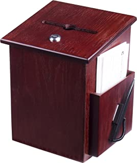Wood Suggestion Box, Ballot Box with Pocket, Locking Hinged Lid and Pen for Wall or Countertop - Red Mahogany (Ballots Not...