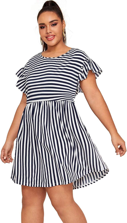 Milumia Women's Plus Size Cute Striped Ruffled Sleeve High Waist Smock Short Dress