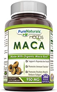 Pure Naturals Maca 950 Mg - Made with Organic Maca Root 360 Veggie Capsules- Promotes Immune Function*, Positive Mood and ...
