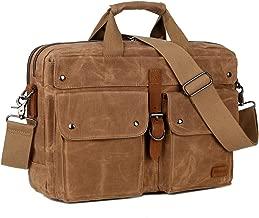 BAOSHA 17inch Briefcase Waxed Canvas Laptop Computer Bag Messenger Bag For Men (Kakhi)