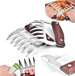 2Pcs Metal Meat Claws Stainless Steel Meat Forks with Wooden Handles Meat Shredding Forks and Hooks for Lifting Handling S...