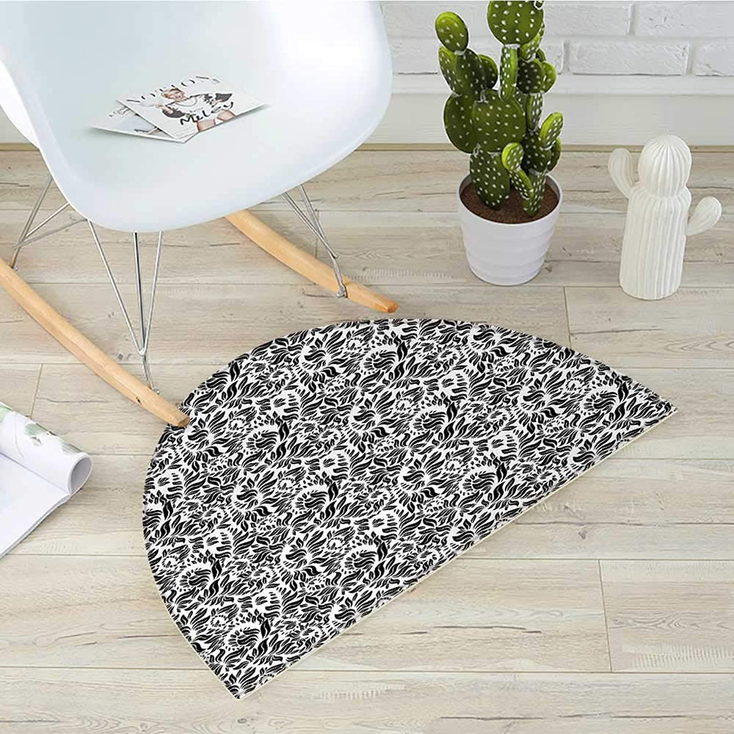 Floral Semicircular CushionModern Flower Herbs Plants Woodland Flourish Branches Leaves Nature Illustration Entry Door Mat H 35.4  xD 53.1  Black White