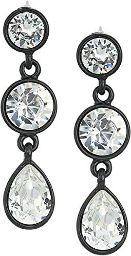 Black/Crystal 3 Drop Pierced Earrings