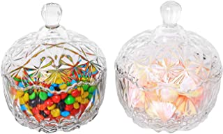 ComSaf Glass Candy Dish with Lid Decorative Candy Bowl, Crystal Covered Storage Jar, Set of 2(Diameter:4.1 Inch)