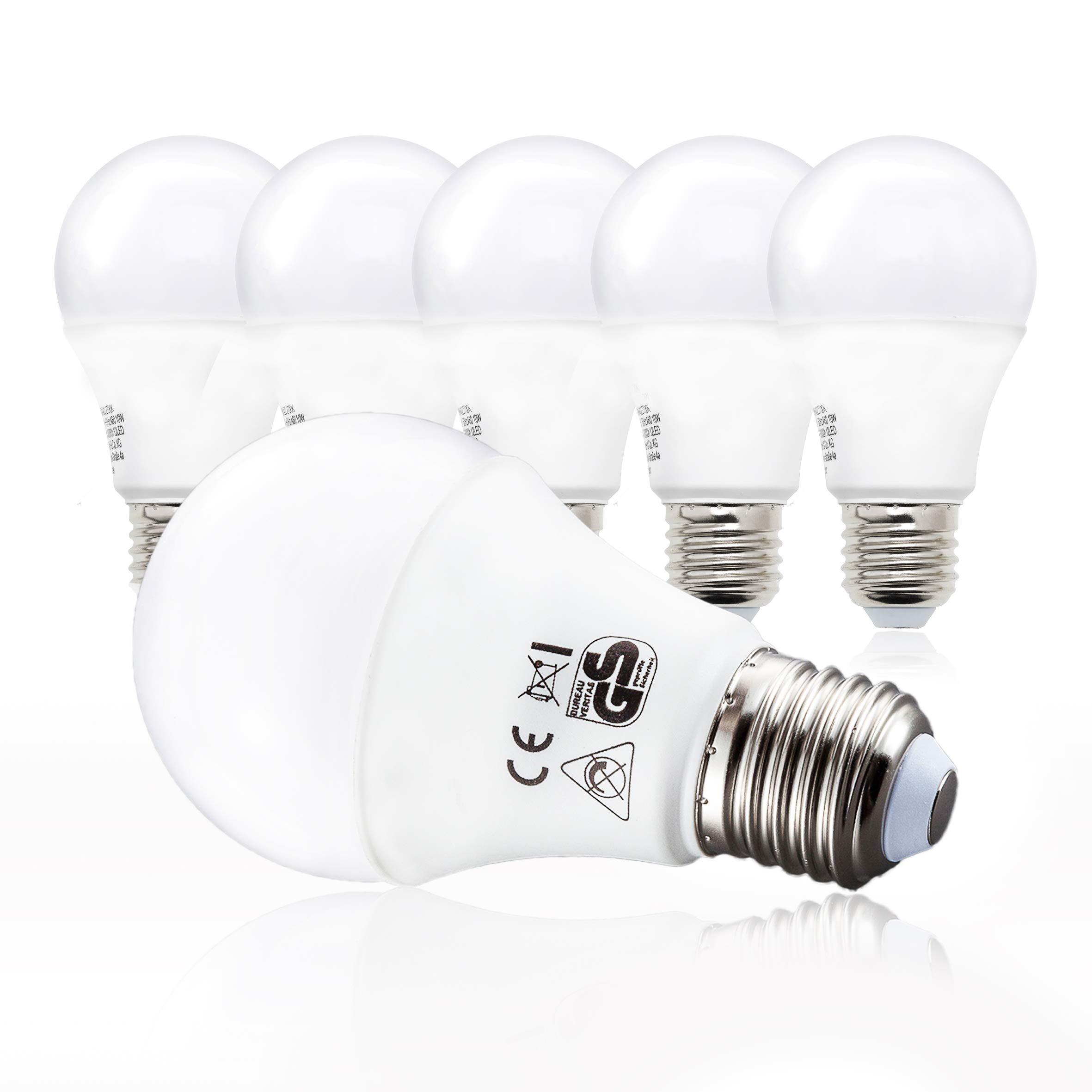 B.K.Licht Bombillas LED E27 I Ecológico I 9W equivalente a 75W I Pack de 5 I Luz Blanca natural 2700K 806LM I 230V: Amazon.es: Iluminación