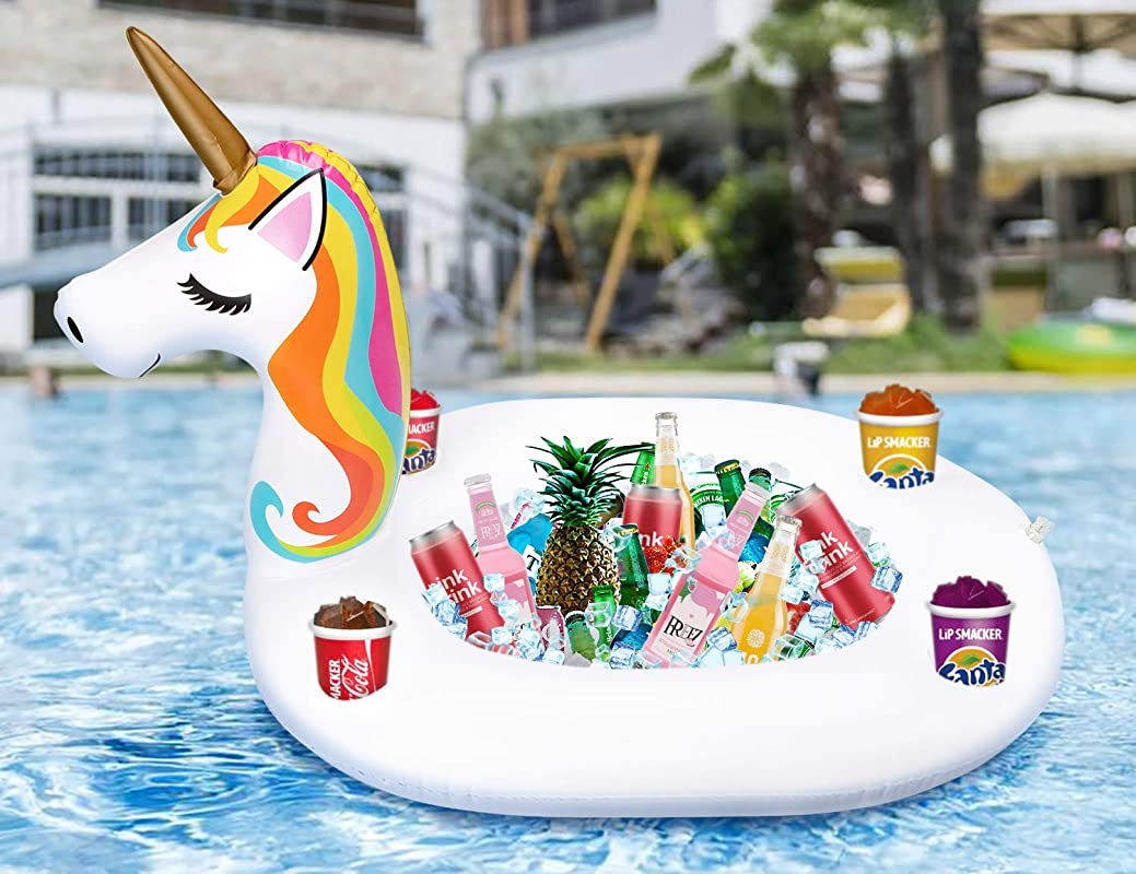 Inflatable Unicorn Serving Bar Floating Ice Tray Food Drink Salad Candy Holder Pool Party Supplies Beverage Fruit Buffet Picnic BBQ Cooler