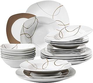 VEWEET Nikita 24pcs Service de Table Pocelaine 6pcs Assiettes Plates 24,6cm, 6pcs Assiette Creuse 21,5cm, 6pcs Assiette à ...
