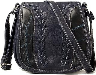 Prime Sale Day Deals Sale Offers 2019-Handicrafts Women's Saddle Bag Vintage Style Genuine Leather Cross Body Shoulder Bag Handmade Purse for Women (Dark Blue)