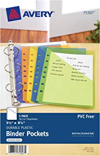 Avery Mini Binder Pockets, Assorted Colors, Fits 3-Ring and 7-Ring Binders, Durable, 5 Slash Jackets (75307)