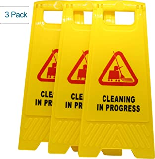Hotelware (Pack of 3) Cleaning in Progress Warning Sign with Vivid Symbol Caution Floor Stand SignYellow
