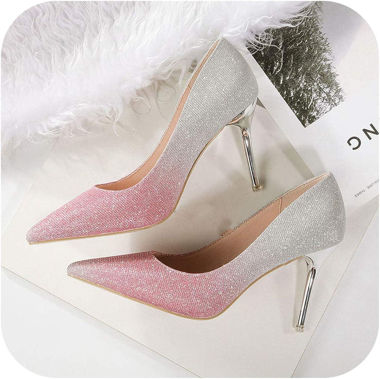 Women Fetish 9cm High Heels Female Bridal Stiletto Heels Pumps Lady Scarpins Sequins Glitter shoes