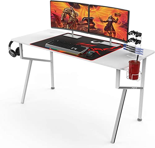 DESIGNA Gaming Desk with LED Lights, 44.5 inch Computer Desk Z-Shaped with Mouse Pad, Handle Rack, Cup Holder, Headph...